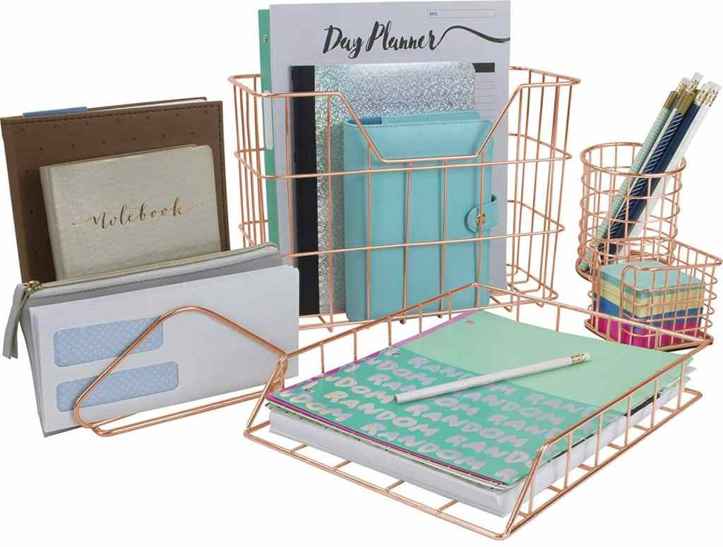 Copper Desk Organizer Set