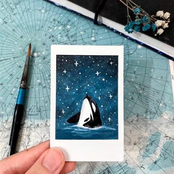 Easy Whale Watercolor Mini Art