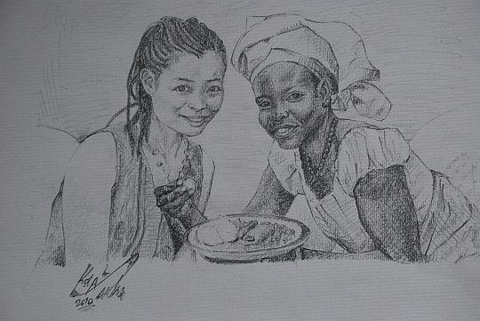 日本で生まれたわたしとナイジェリアで生まれたトイン。昨年11月に撮った写真をもとに、アーティストのパパケイが鉛筆で紙に描いてくれた。2010年6月17日 イフェ、モーレ地区のパパケイのアトリエにて