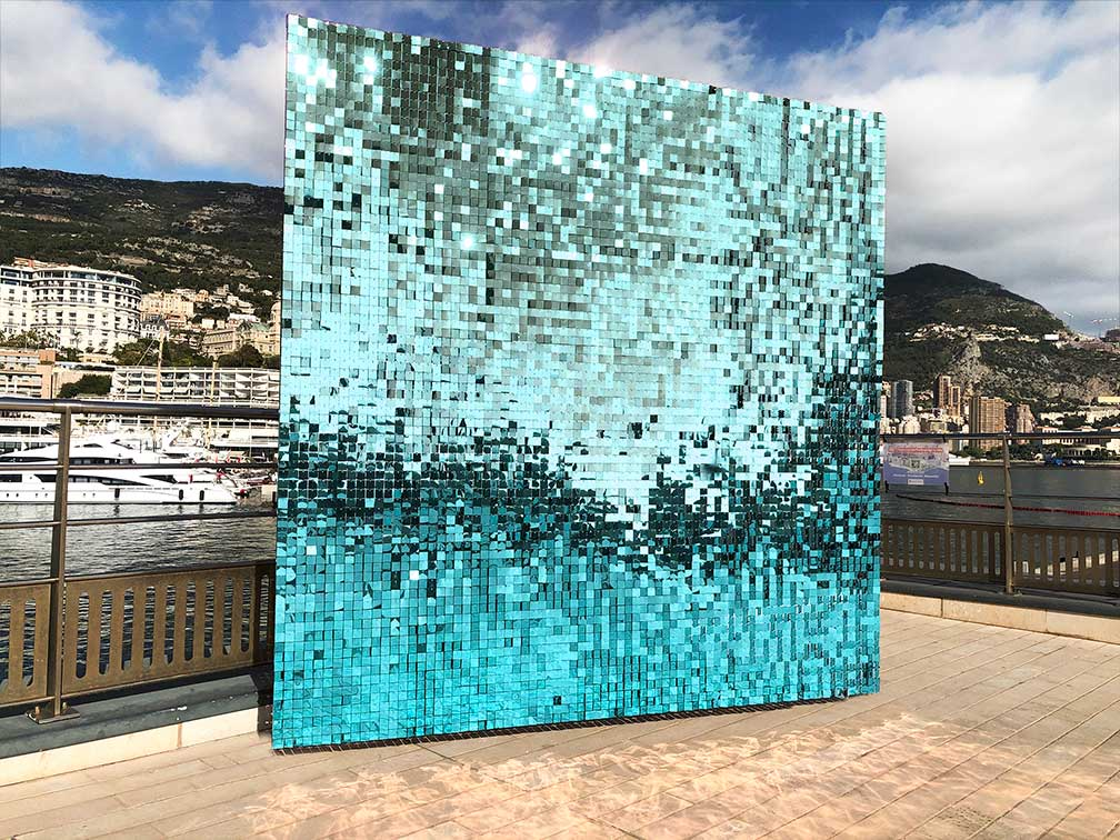 light blue sequin balloon wall display by shimmerwalls