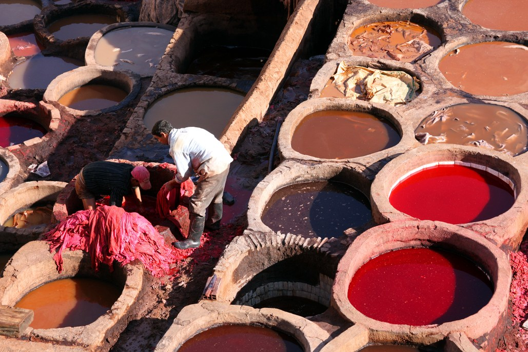 Workers at a tannery in Fez