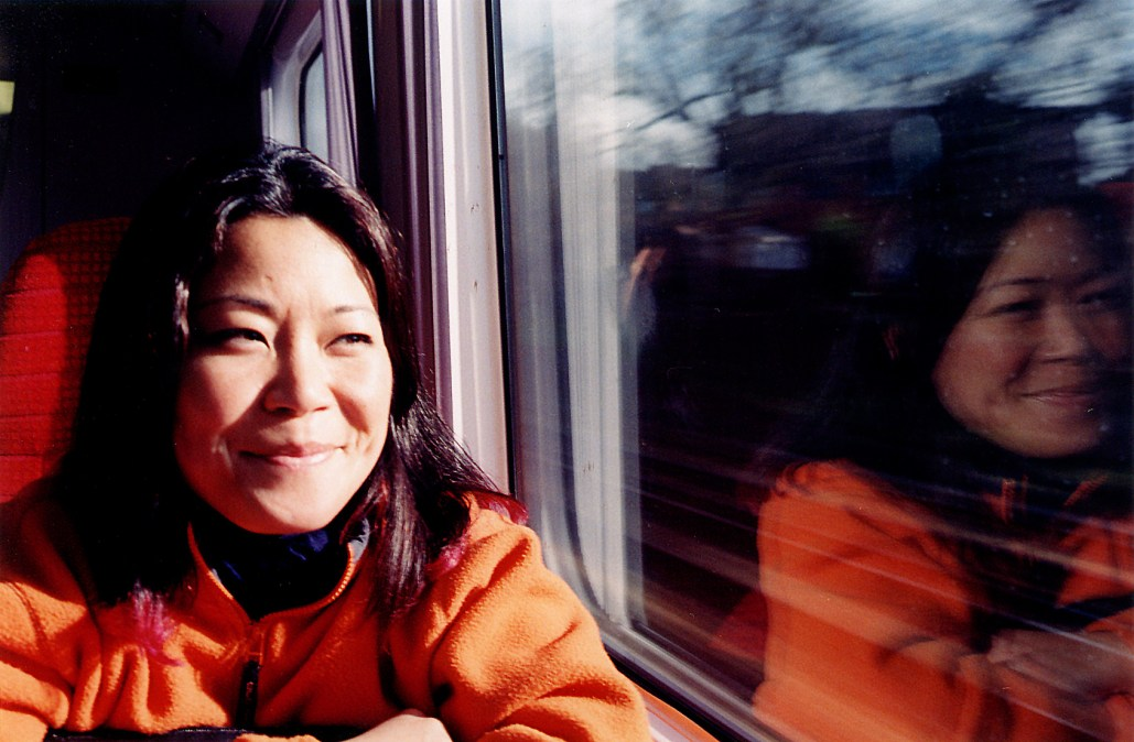 My sister on the train to London