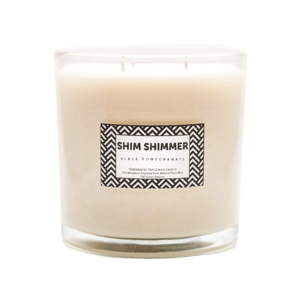 3 wick candle shim shimmer luxury scented candles and fragrances black pomegranate black pom gifts vegan soap organic natural handmade reed diffusers
