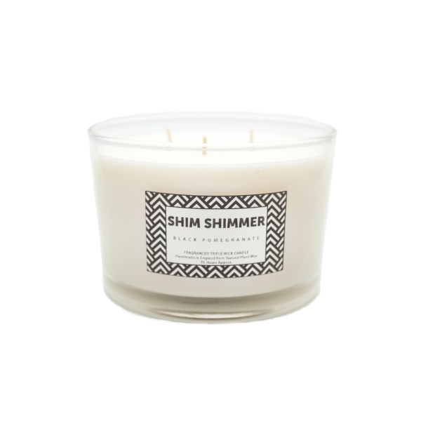 3 wick candle shim shimmer shimshimmer luxury scented fragranced candles reed diffusers organic soap black pomegranate room sprays milk bottles milk puddings designer luxury gift sets
