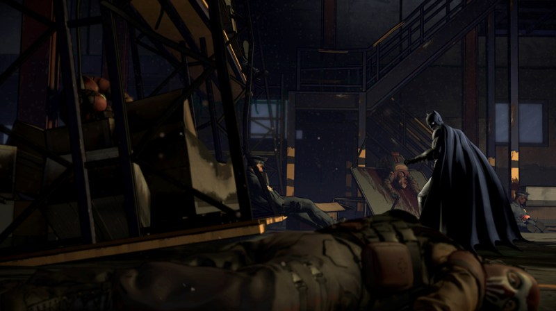 Batman: Realm of Shadows: dead mercenaries in the aftermath of a gang fight