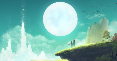 header image for Lost Sphear review: artwork showing two people on a ridge looking at a moon