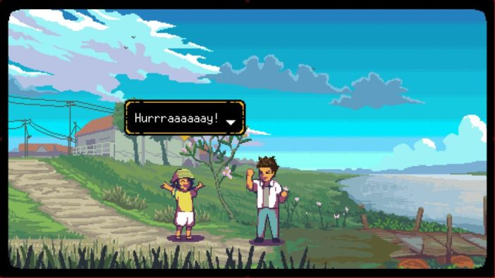 A screenshot from A Space For The Unbound, showing two children near a pier celebrating, with a rural town in the background.