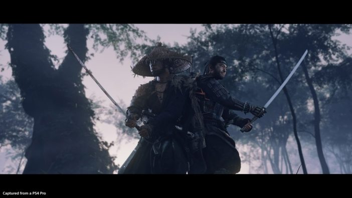 A screenshot from Ghost of Tsushima showing two warriors back to back with swords held ready