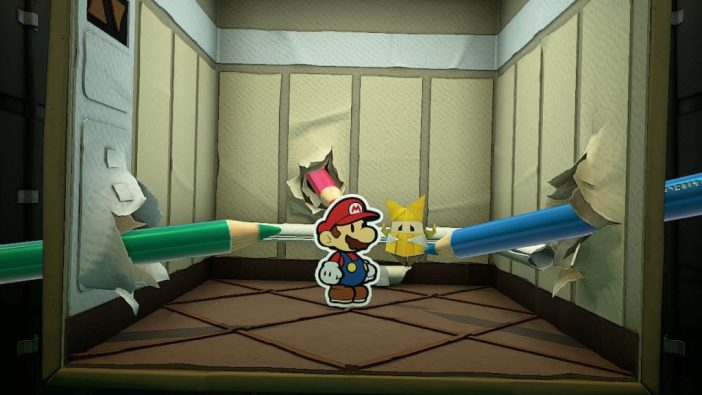 A screenshot from Paper Mario: The Origami King, showing Mario and Olivia inside an elevator, with giant coloured pencils sticking through the walls