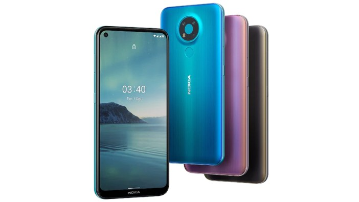 A picture of the different colours of the Nokia 3.4 smartphone that is now available in New Zealand.