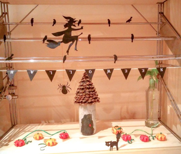 Halloween Decor for small spaces includes Haunted house, Pumpkins, Flying Witch, Crows, Bats, Cats and Spiders