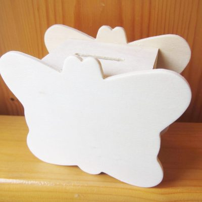 wood craft money box butterfly
