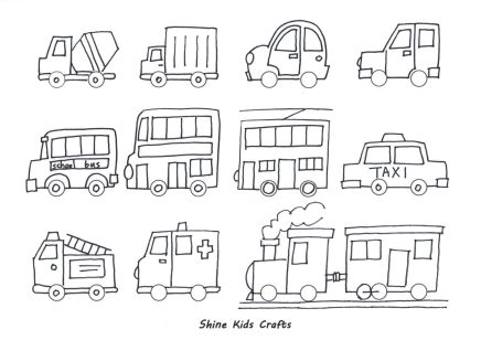 draw cars kids party activity free printable coloring