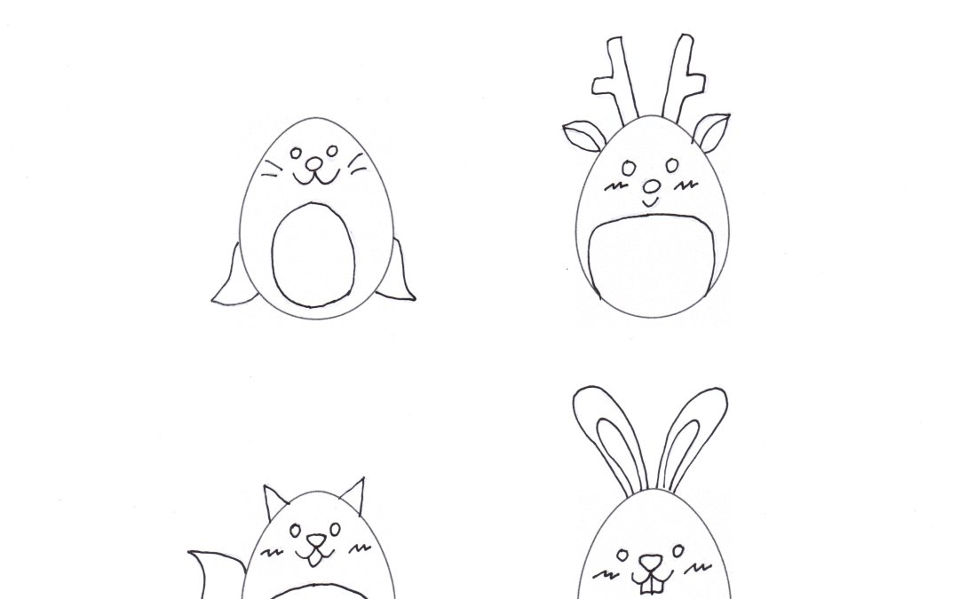 Free Printable Kids Simple Drawing – Egg Shaped Polar Animals