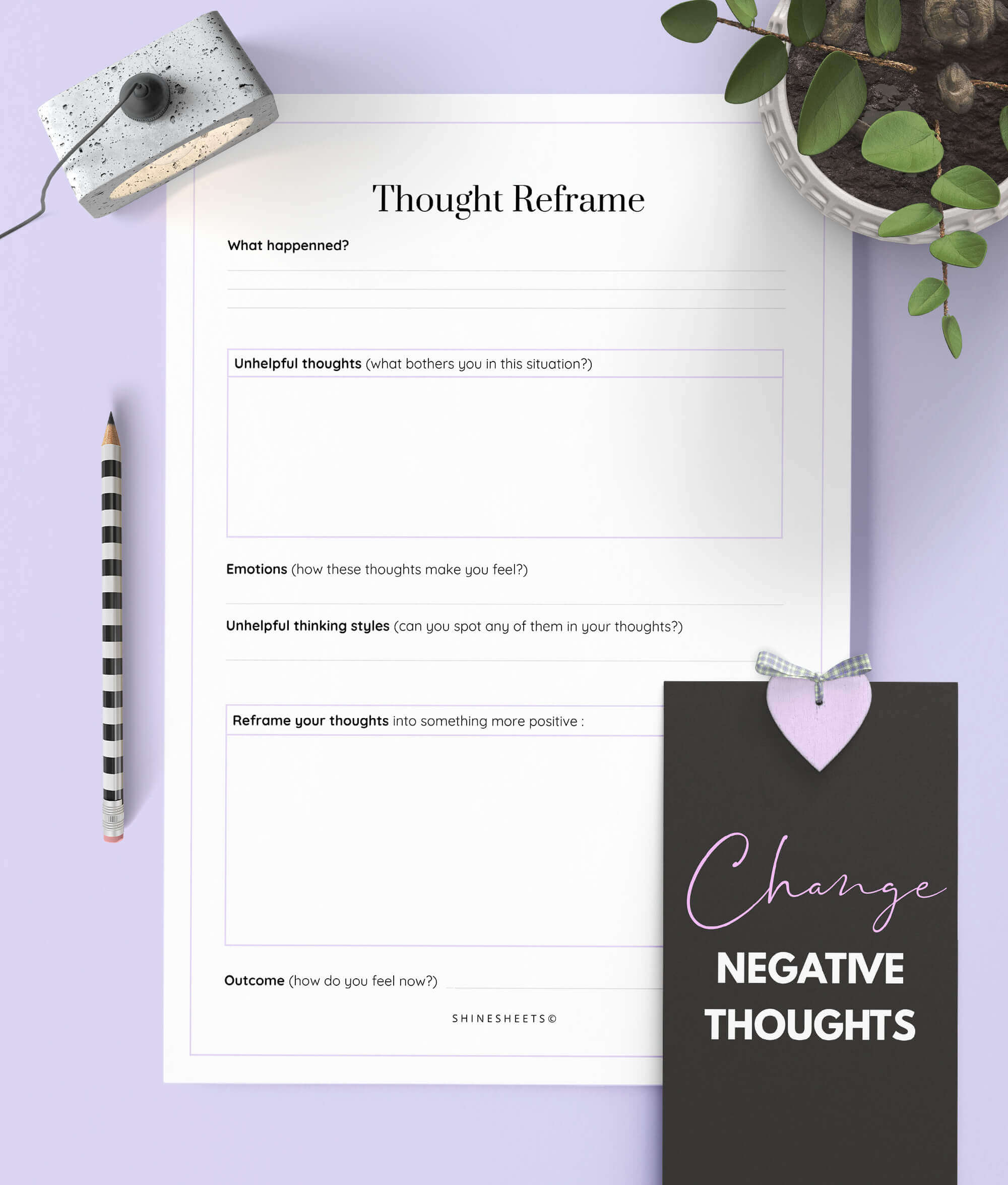 The Thought Workbook Printable 14 Pages Updated Pre