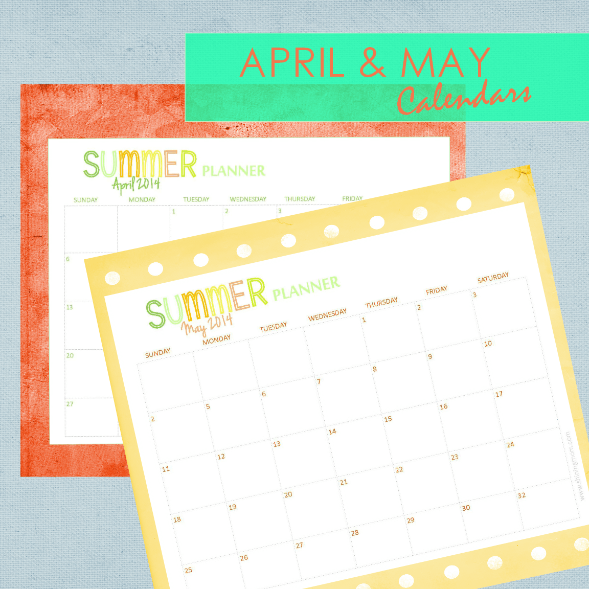 Calendar April And May Printable : Your free printable calendar and home planners for summer
