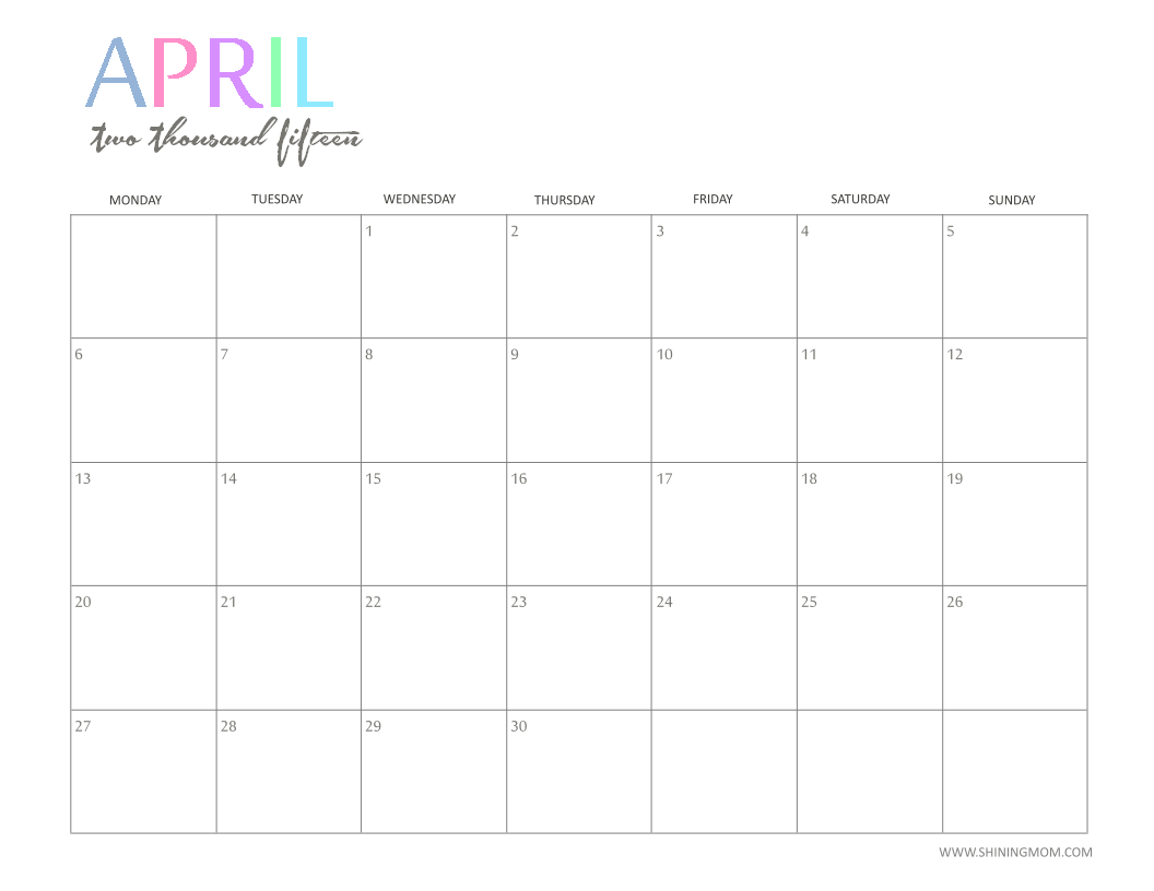 April Calendar Cute : Free printable calendar by shiningmom fun and