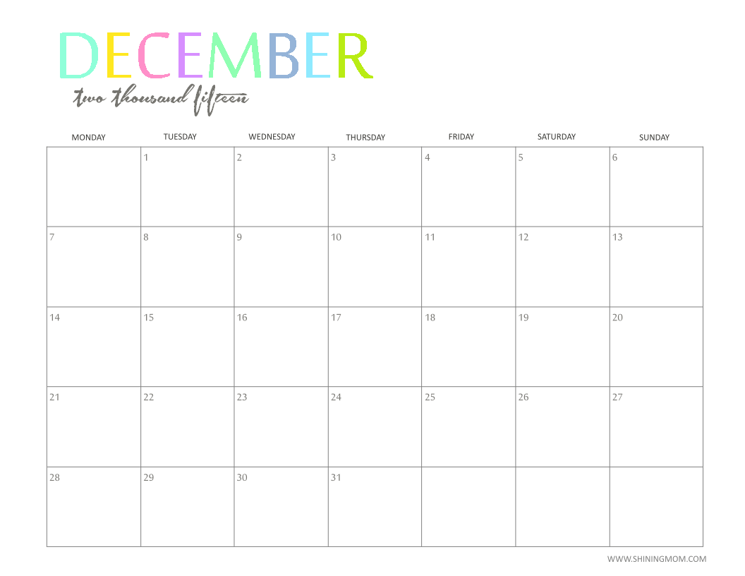 Monthly Calendar Dec : The printable monthly calendar by shiningmom is here