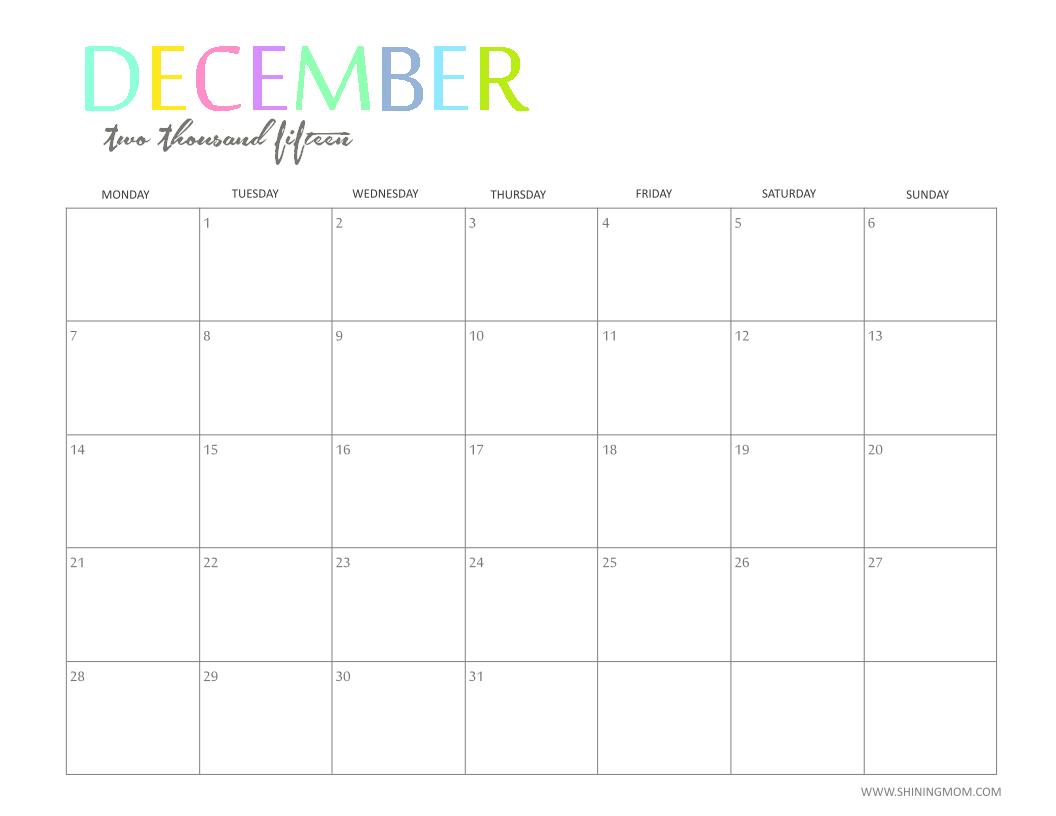 december 2015 printable calendar