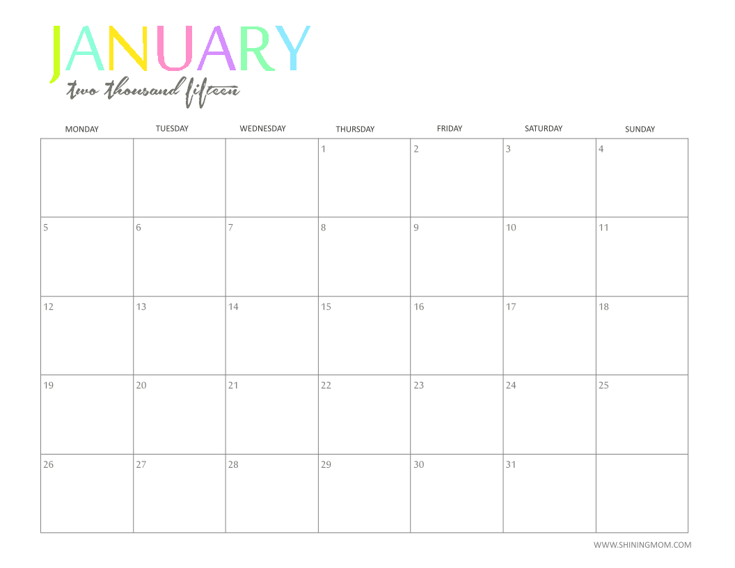 Free Printable Calendar By Shiningmom Fun And Colorful