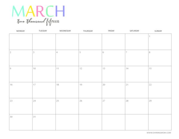 march 2015 calendar free