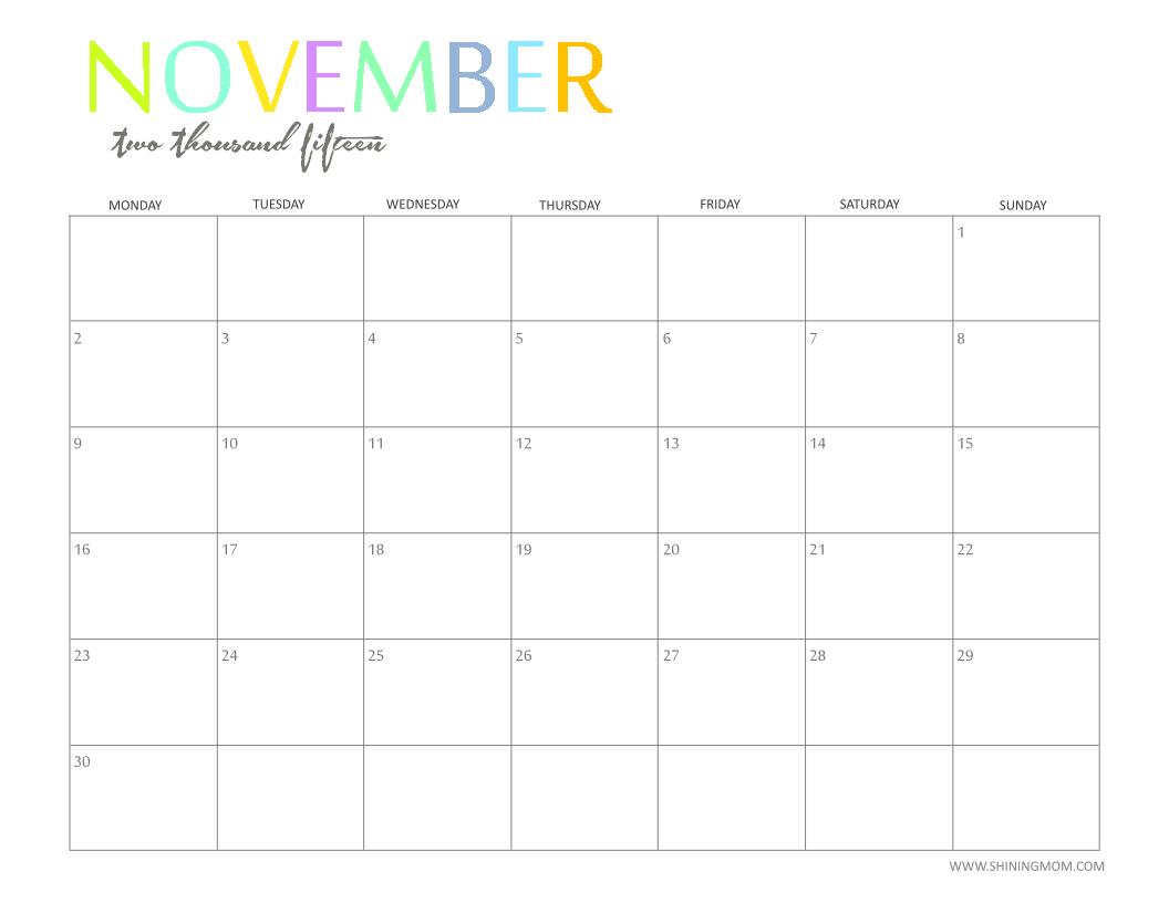 november 2015 calendar free