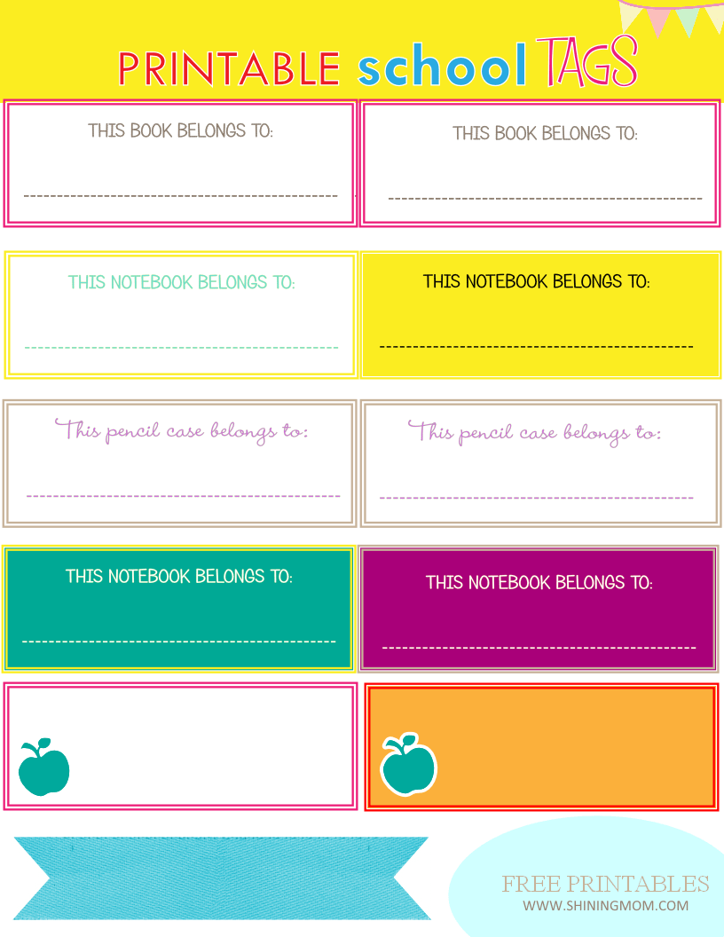 Printable Book Cover Labels : New project back to school notebook and book labels