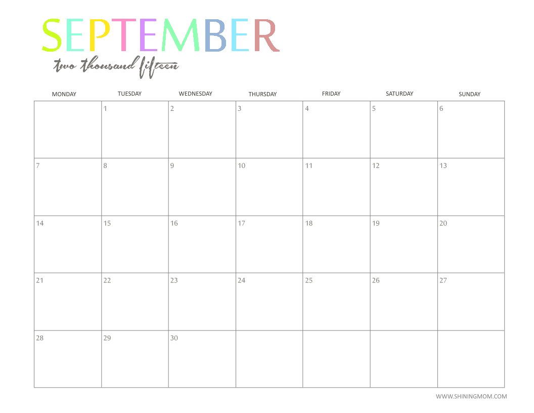 Weekly Calendar Desktop : The printable monthly calendar by shiningmom is here