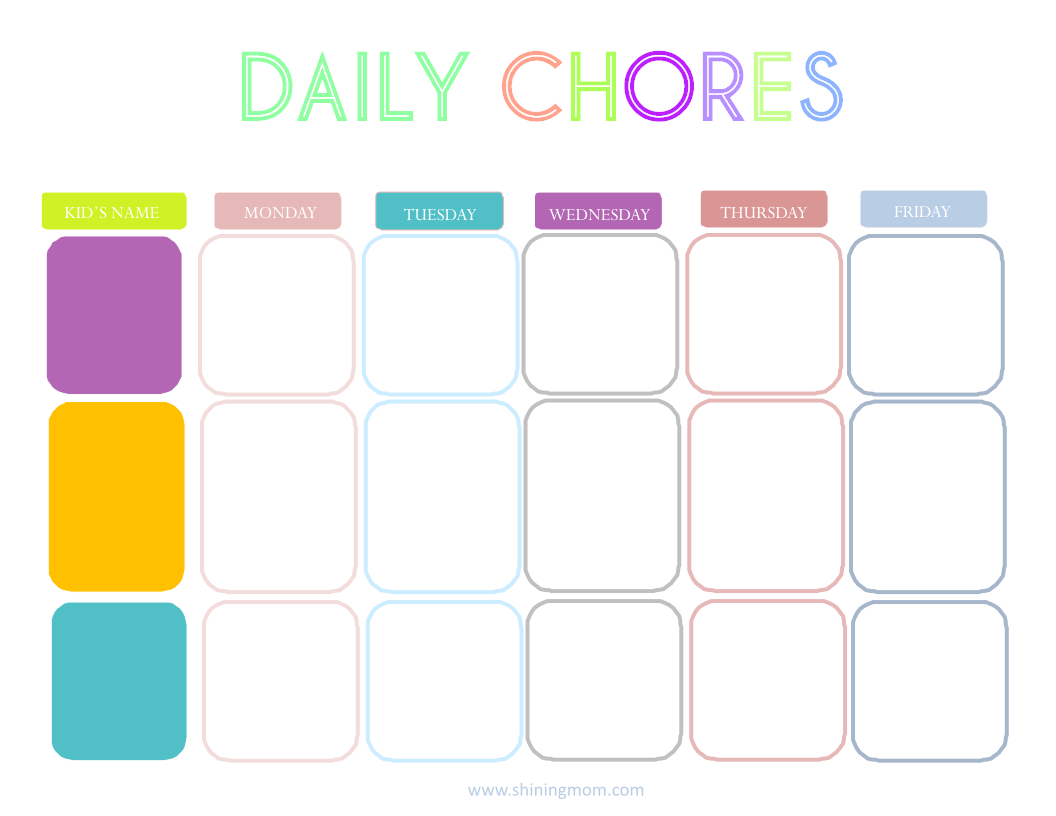 Printable Charts For Chores
