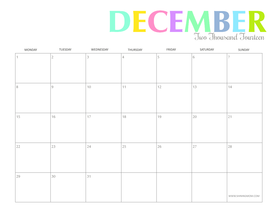 photograph relating to Printable Monthly Calendar December called december 2014 calendar 3 gif. december 2014 calendar