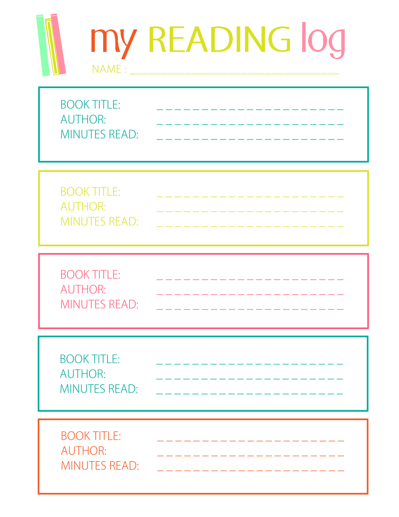 Printable reading log for elementary kids for Reading log with summary template