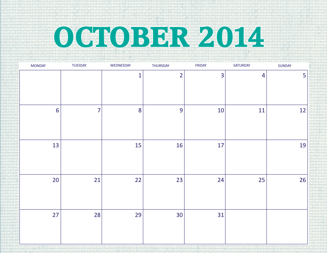 Free printable october 2014 calendar for 2 month calendar template 2014