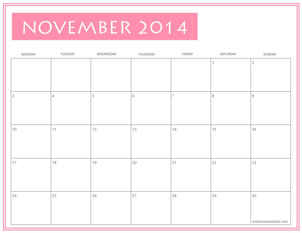 November Calendar 2014 : Free printable november calendars by shining mom