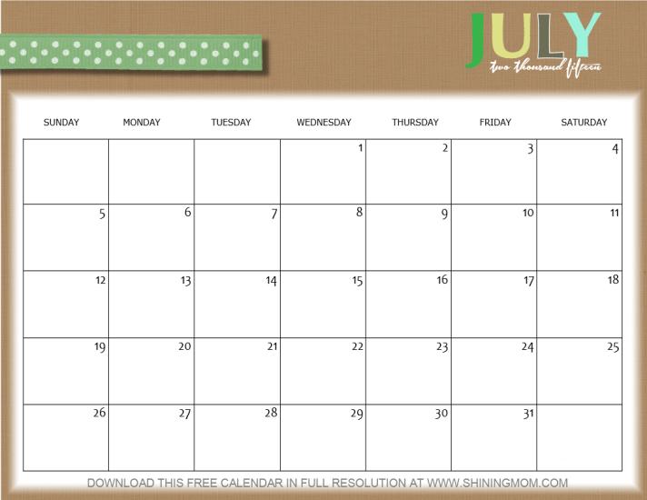 Calendar Ribbon Design : Lovely july calendars