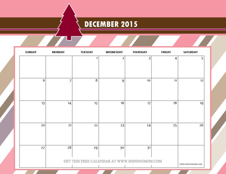december 2015 calendar free