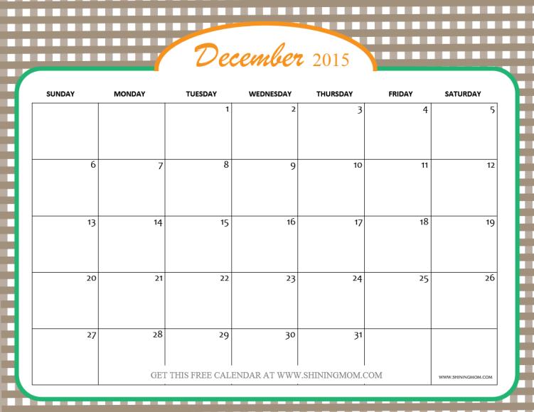 printable december 2015 calendar