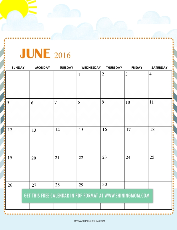 Free Cute Calendar Templates - Contegri.Com