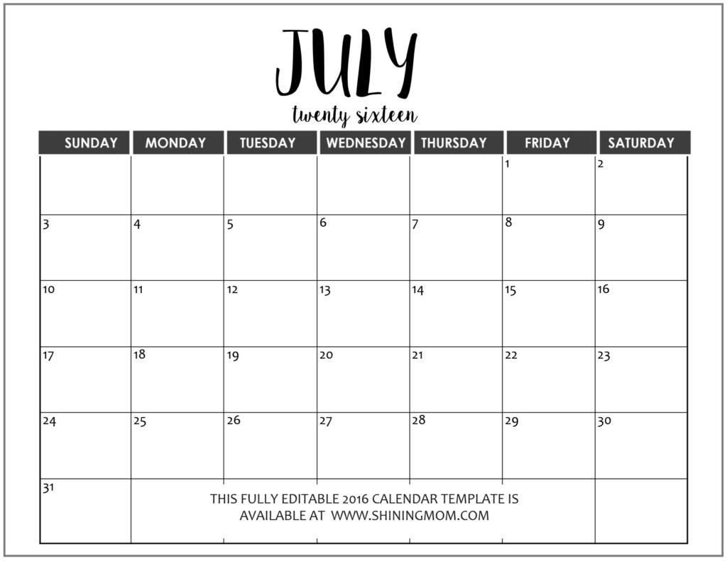 free July 2016 calendar