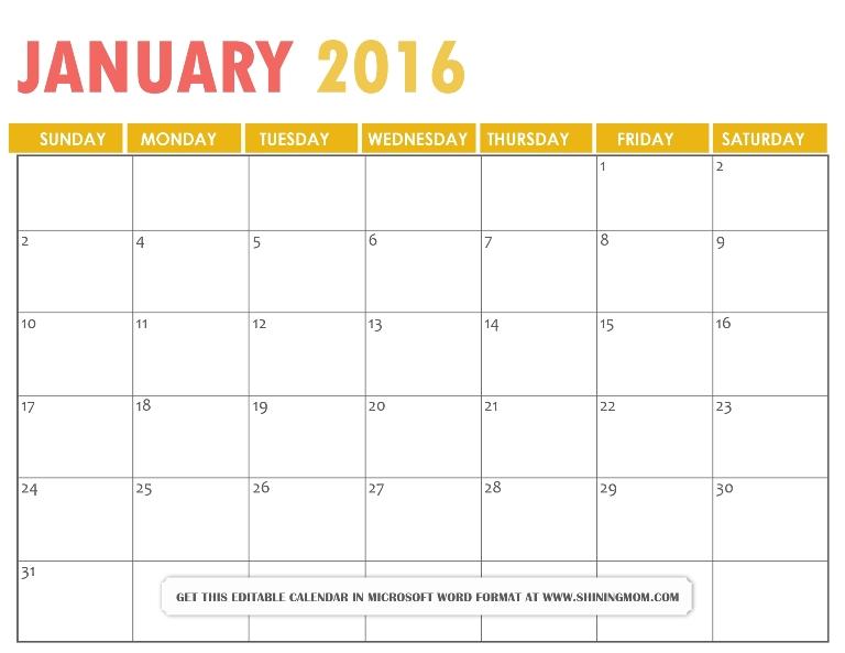 All Lovely: Free Printable January 2016 Calendars