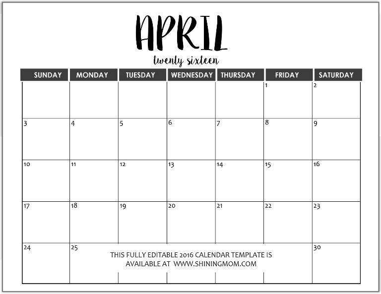 2015 Blank Calendars Print