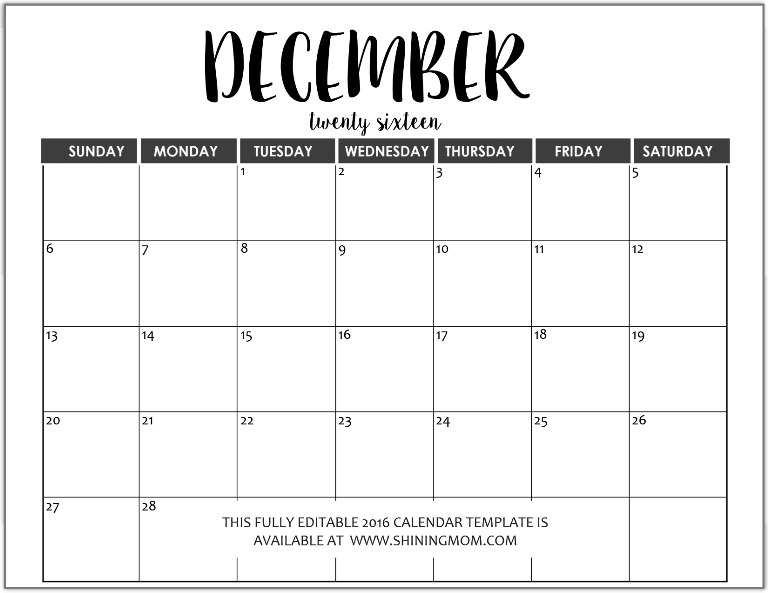 fully editable December 2016 calendar in MS Word