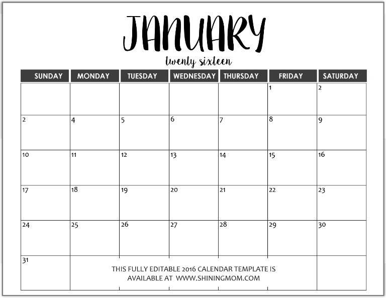 fully editable January 2016 calendar template in MS Word