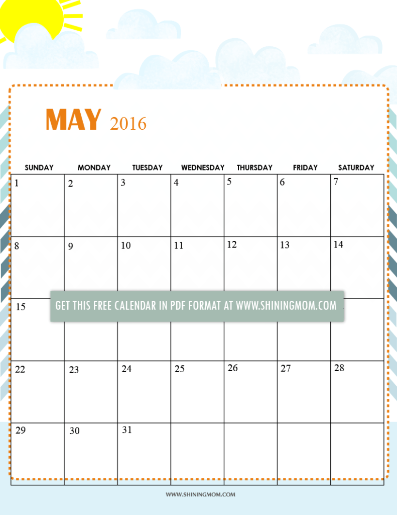 Blank Calendar Summer : Free printable calendars for may