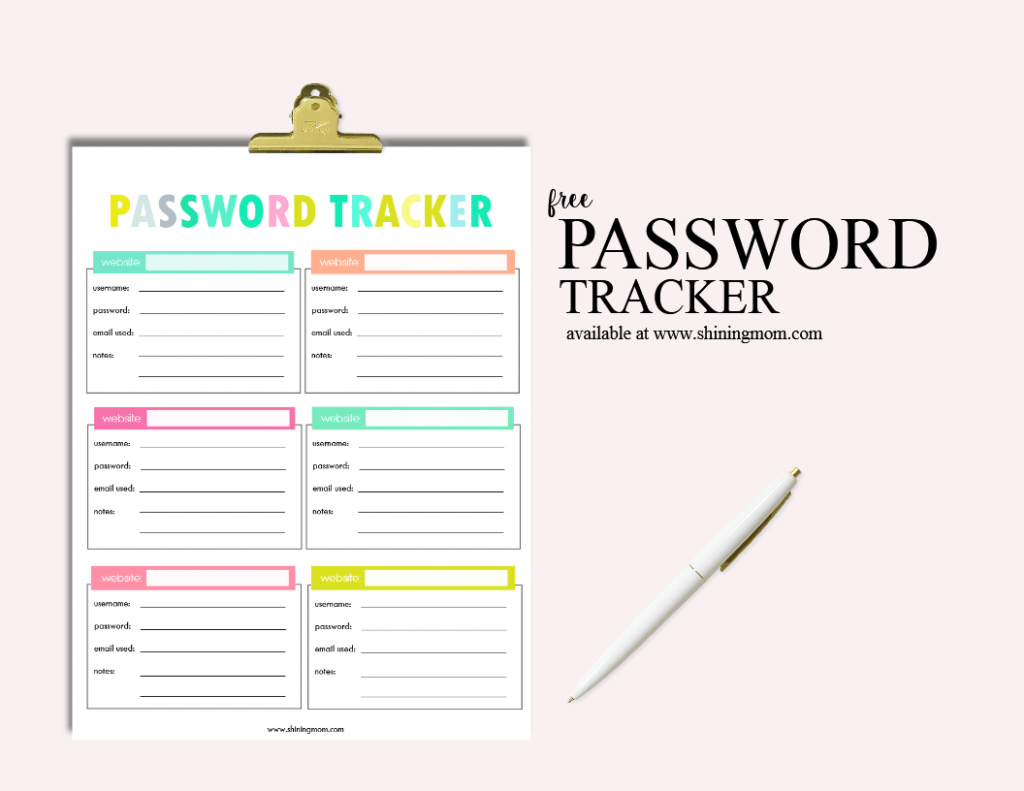 Free Printable Password Tracker