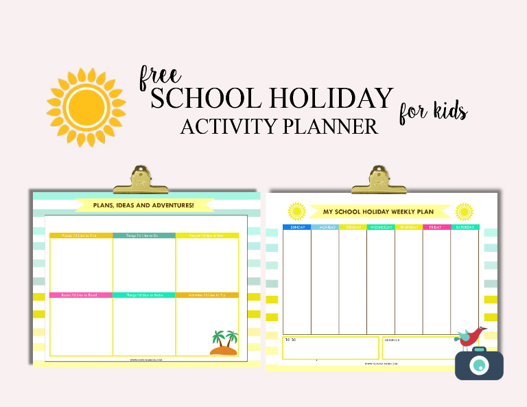 free school holiday activity planner for kids