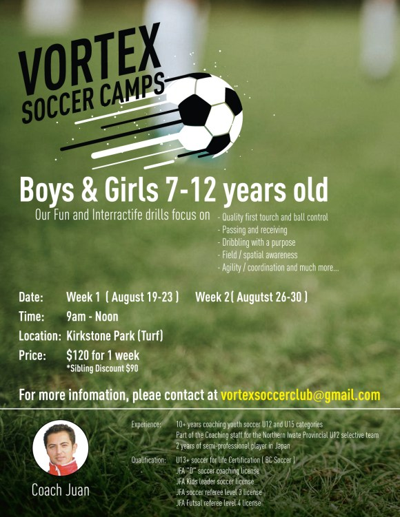 Vortex - Soccer Camp Flyer