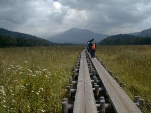 2002 年 9 月 11 日午前 10 時 53 分 、尾瀬を歩く熊沢ゼミの一行。ゼミ史に残る迷言「拙者が接写」が飛び出すのは、この 2 時間 50 分後。