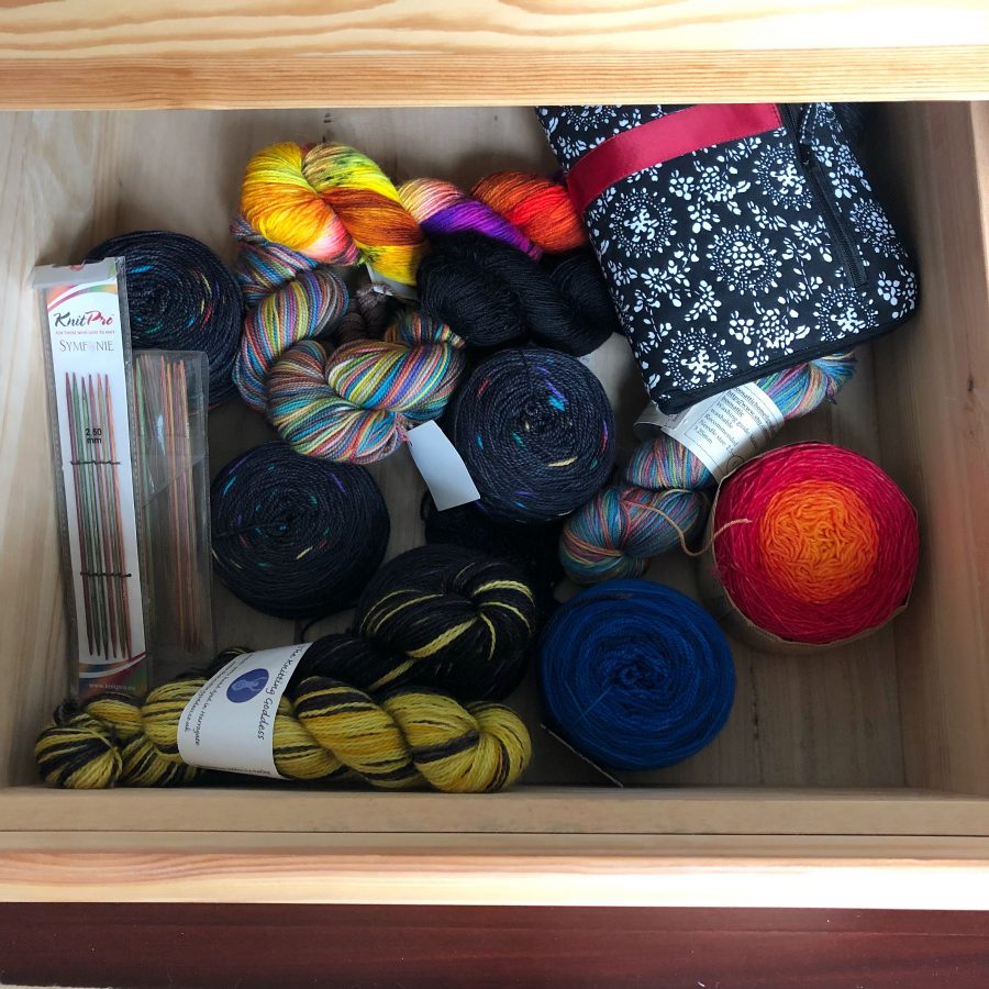 Holiday knitting stash