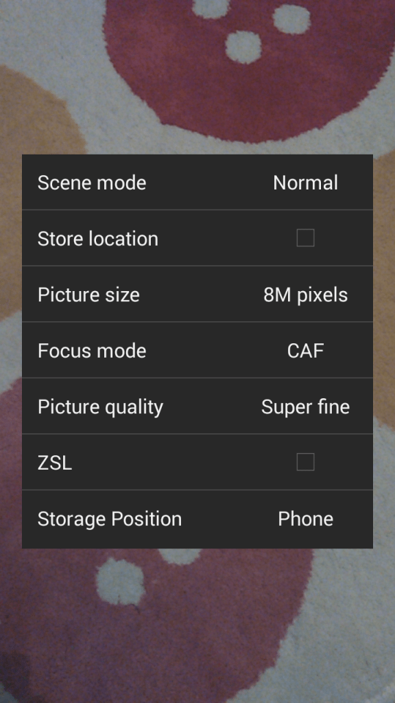 Archos Helium 50 camera menu
