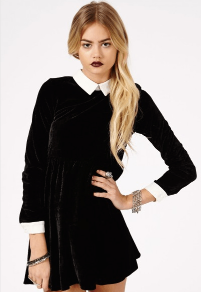 Missguided black velvet dress
